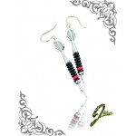 J Sliver Darts In Jewel Ear Ring Black & Red