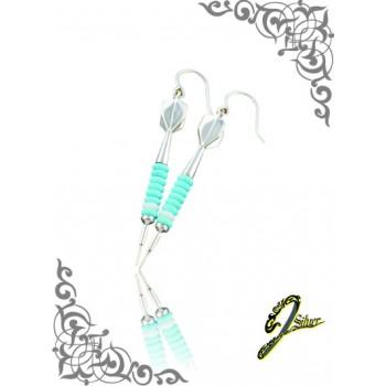 J Sliver Darts In Jewel Ear Ring Light Blue & White
