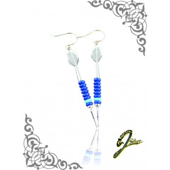 J Sliver Darts In Jewel Ear Ring Double Blue
