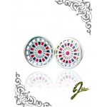 J Sliver Darts Board Ear Ring Black & Red