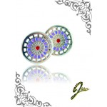 J Sliver Darts Board Ear Ring Pink & Purple