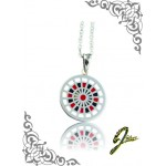 J Sliver Darts Board Pendant Black & Red