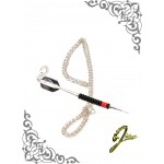 J Sliver Darts In Jewel Pendant Giant Black & Red