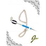 J Sliver Darts In Jewel Pendant Giant Light Blue & White